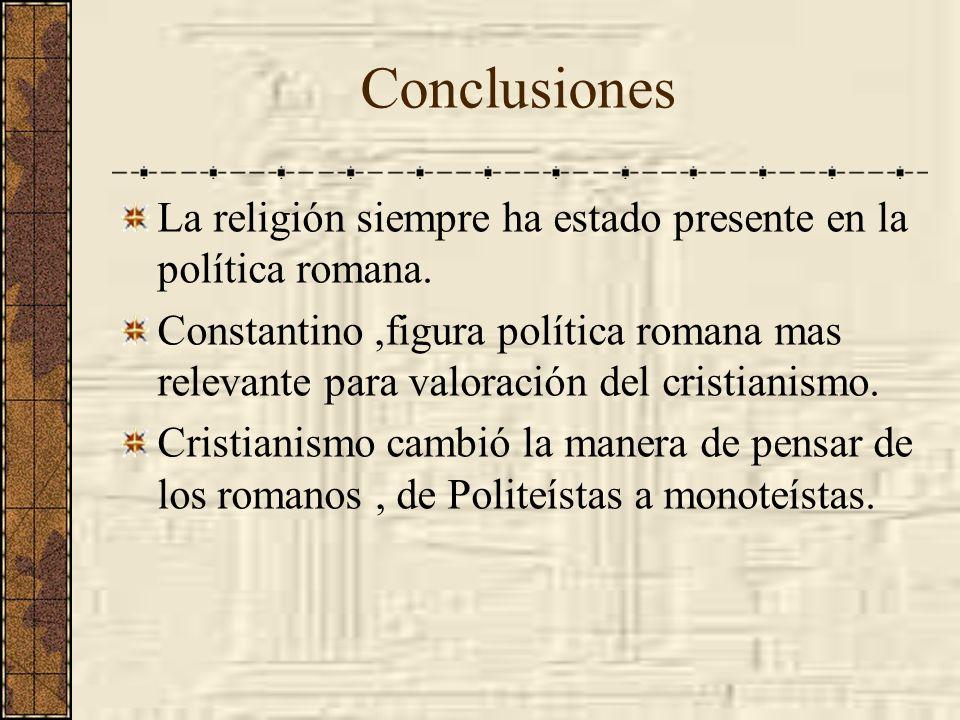 Conclusiones La religión siempre ha estado presente en la política romana.