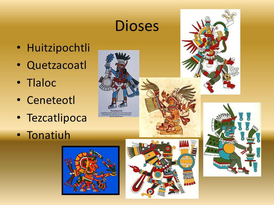 Dioses Huitzipochtli Quetzacoatl Tlaloc Ceneteotl Tezcatlipoca