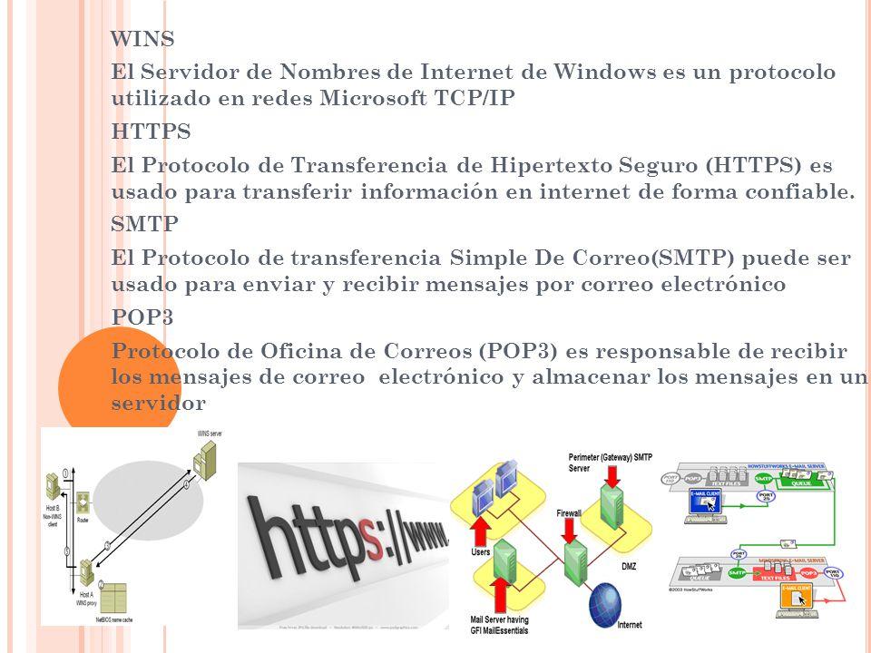 WINS El Servidor de Nombres de Internet de Windows es un protocolo utilizado en redes Microsoft TCP/IP.