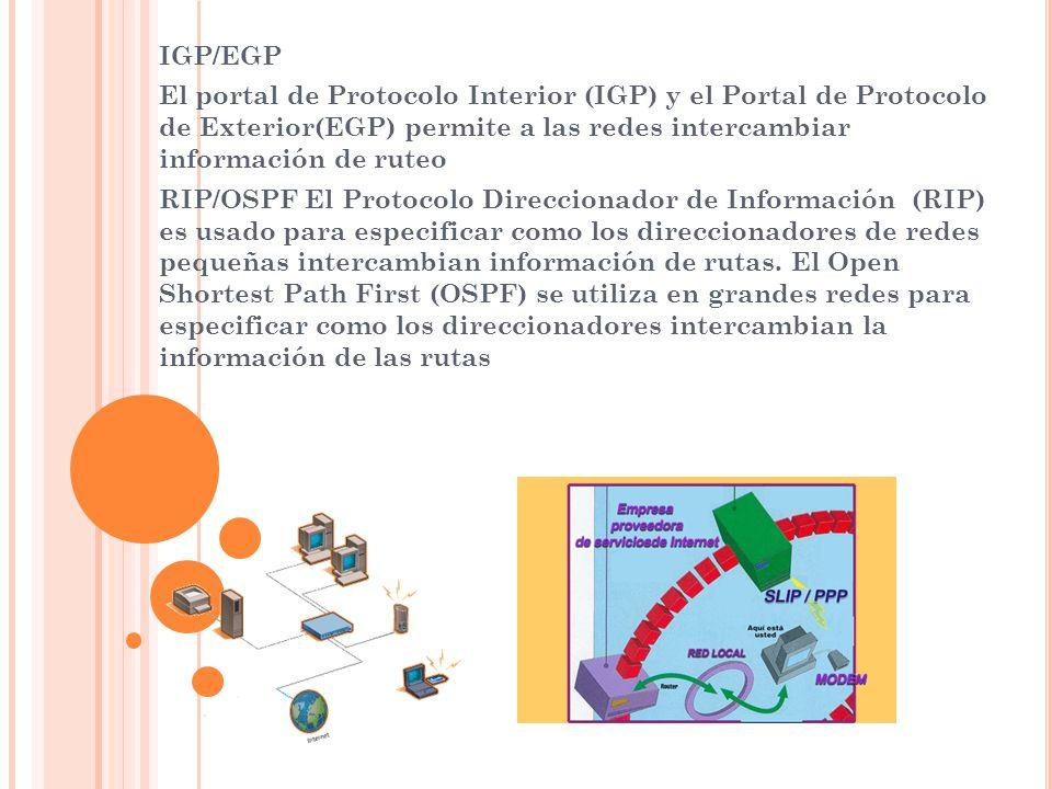 IGP/EGP El portal de Protocolo Interior (IGP) y el Portal de Protocolo de Exterior(EGP) permite a las redes intercambiar información de ruteo.