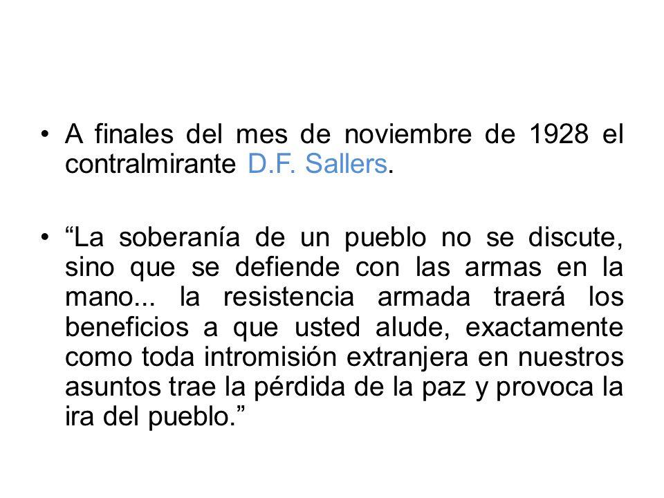 A finales del mes de noviembre de 1928 el contralmirante D.F. Sallers.