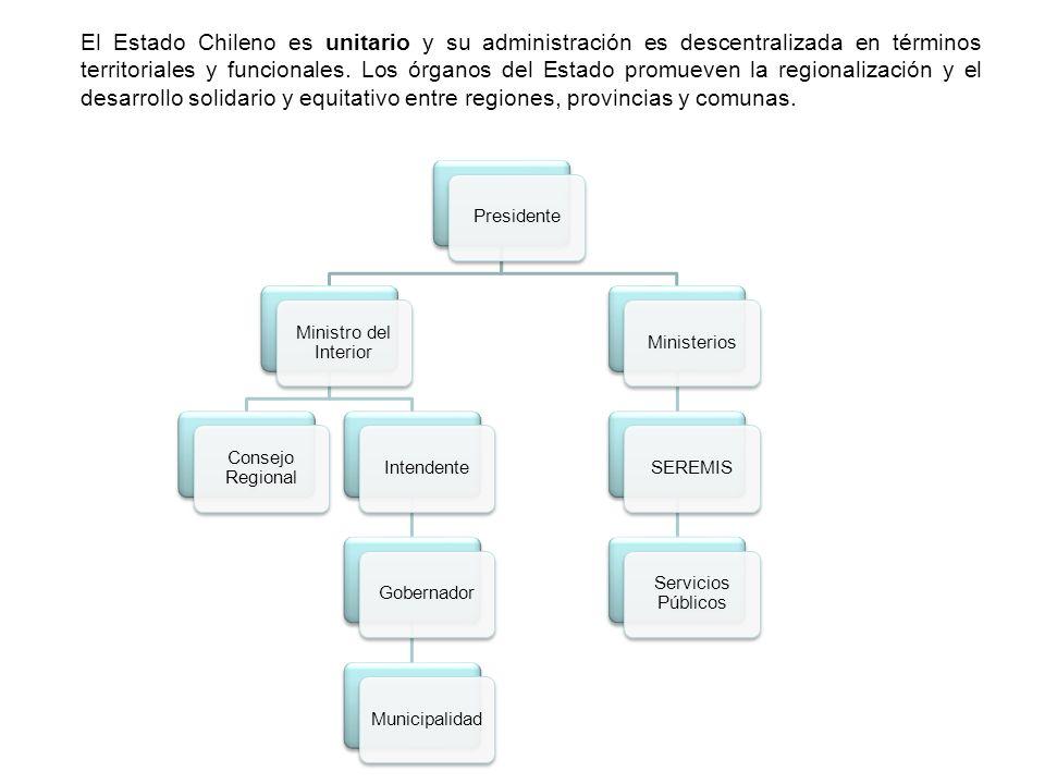 El Estado Chileno es unitario y su administración es descentralizada en términos territoriales y funcionales. Los órganos del Estado promueven la regionalización y el desarrollo solidario y equitativo entre regiones, provincias y comunas.