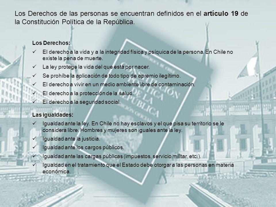 Los Derechos de las personas se encuentran definidos en el artículo 19 de la Constitución Política de la República.