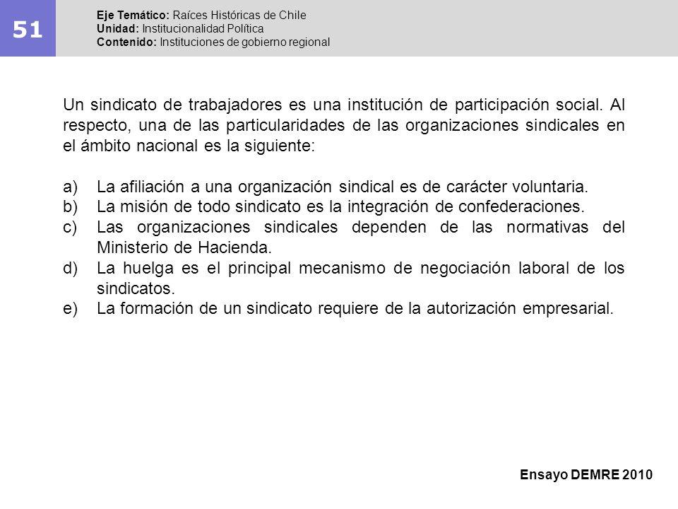 51Eje Temático: Raíces Históricas de Chile. Unidad: Institucionalidad Política. Contenido: Instituciones de gobierno regional.