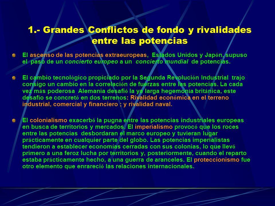 1.- Grandes Conflictos de fondo y rivalidades entre las potencias