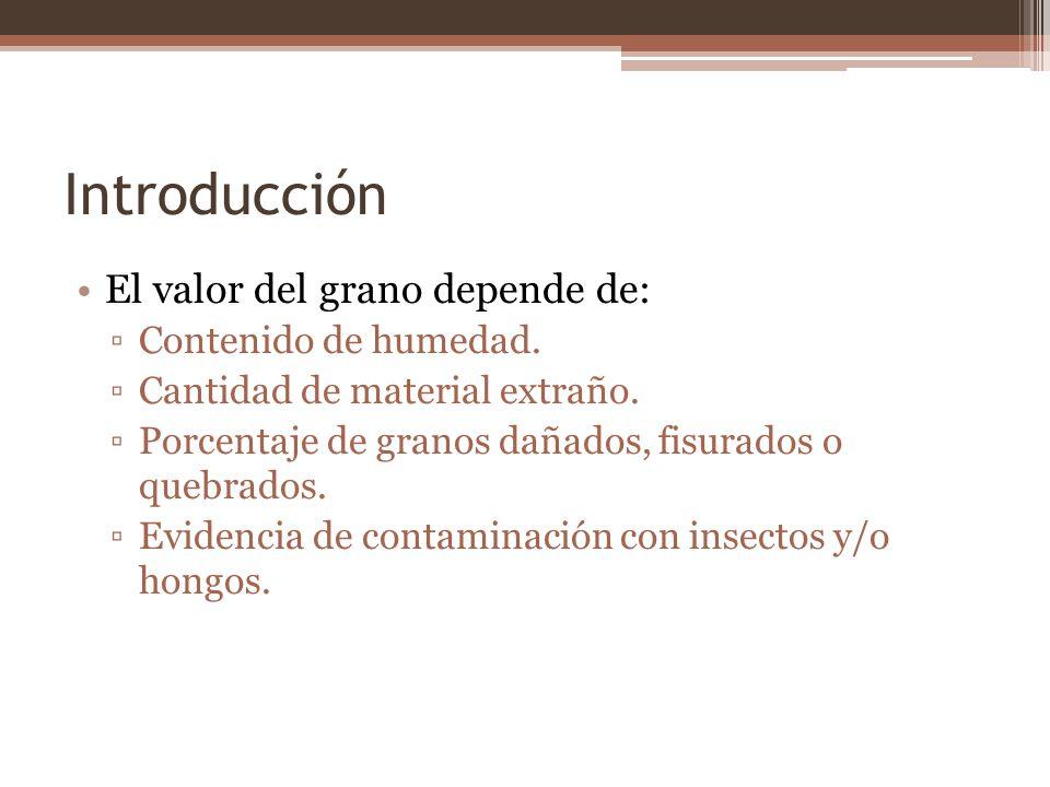 Introducción El valor del grano depende de: Contenido de humedad.