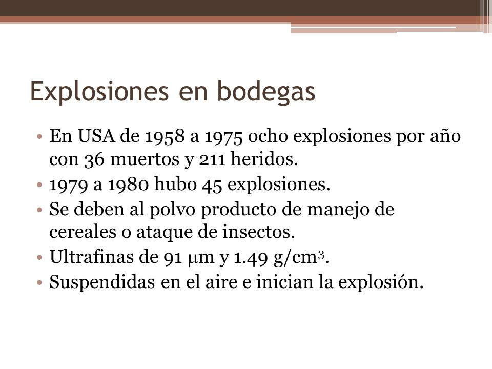 Explosiones en bodegas