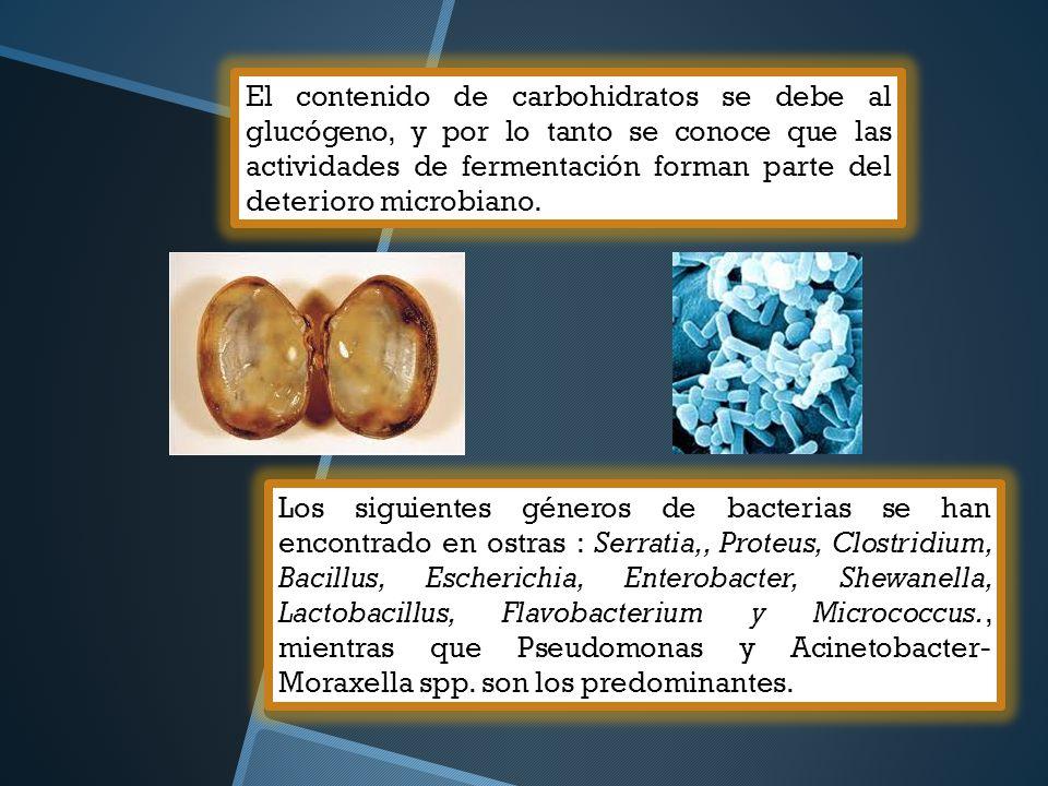 El contenido de carbohidratos se debe al glucógeno, y por lo tanto se conoce que las actividades de fermentación forman parte del deterioro microbiano.