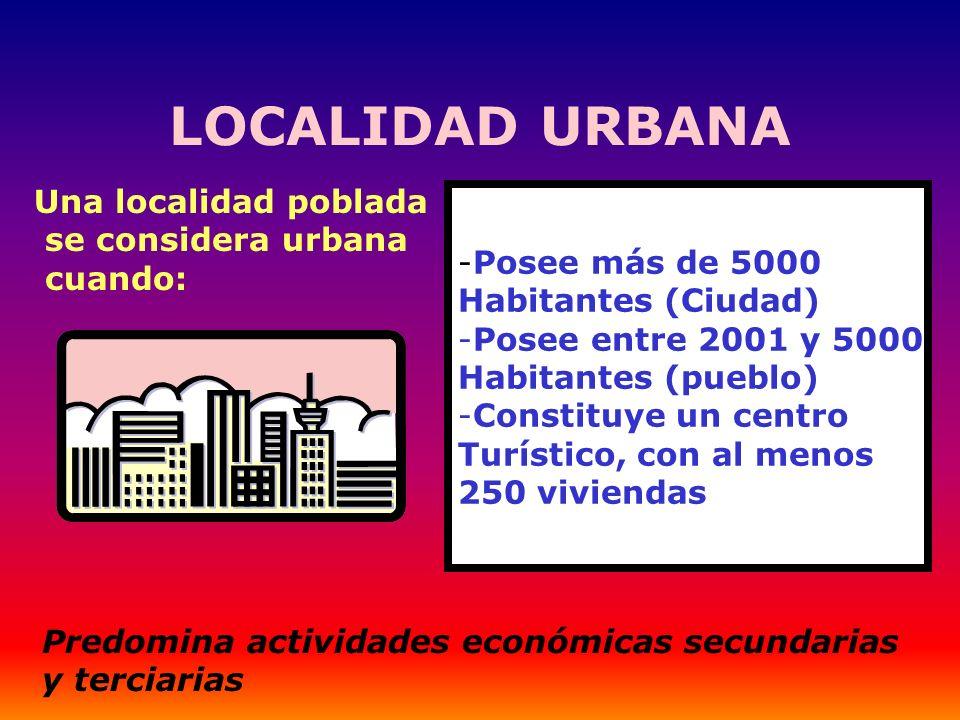 LOCALIDAD URBANA Una localidad poblada se considera urbana