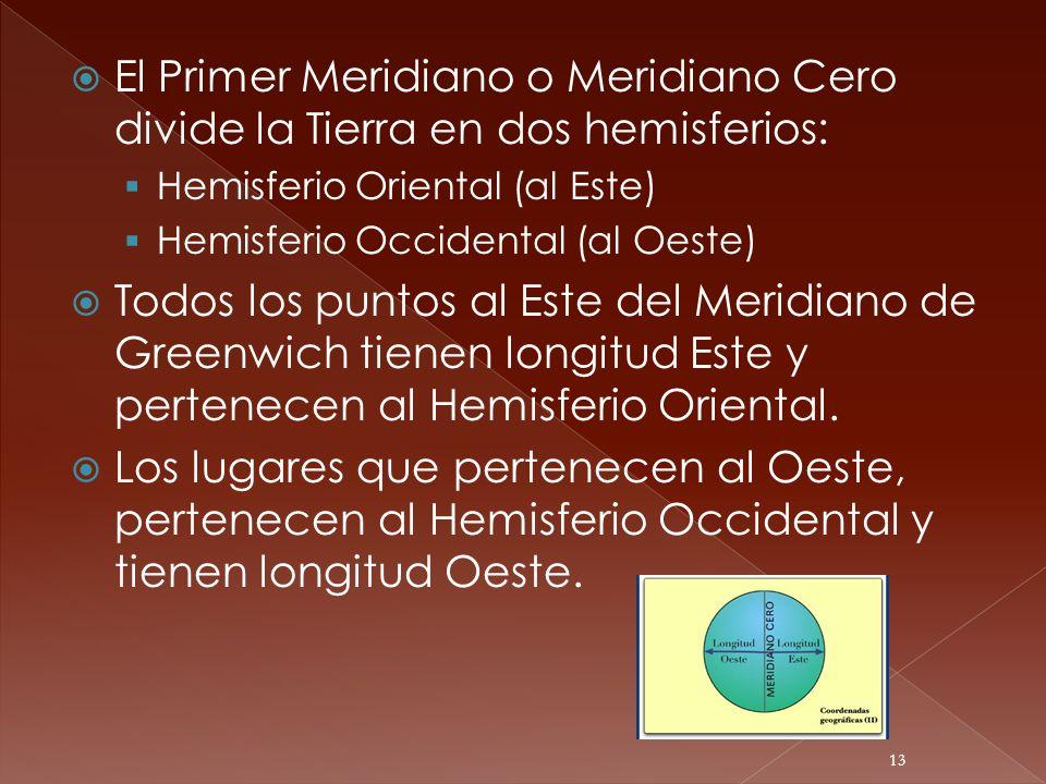 El Primer Meridiano o Meridiano Cero divide la Tierra en dos hemisferios: