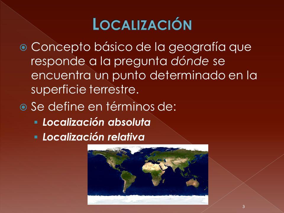 Localización Concepto básico de la geografía que responde a la pregunta dónde se encuentra un punto determinado en la superficie terrestre.