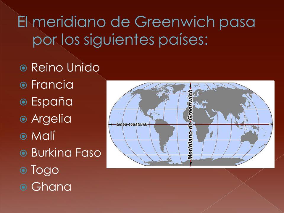 El meridiano de Greenwich pasa por los siguientes países: