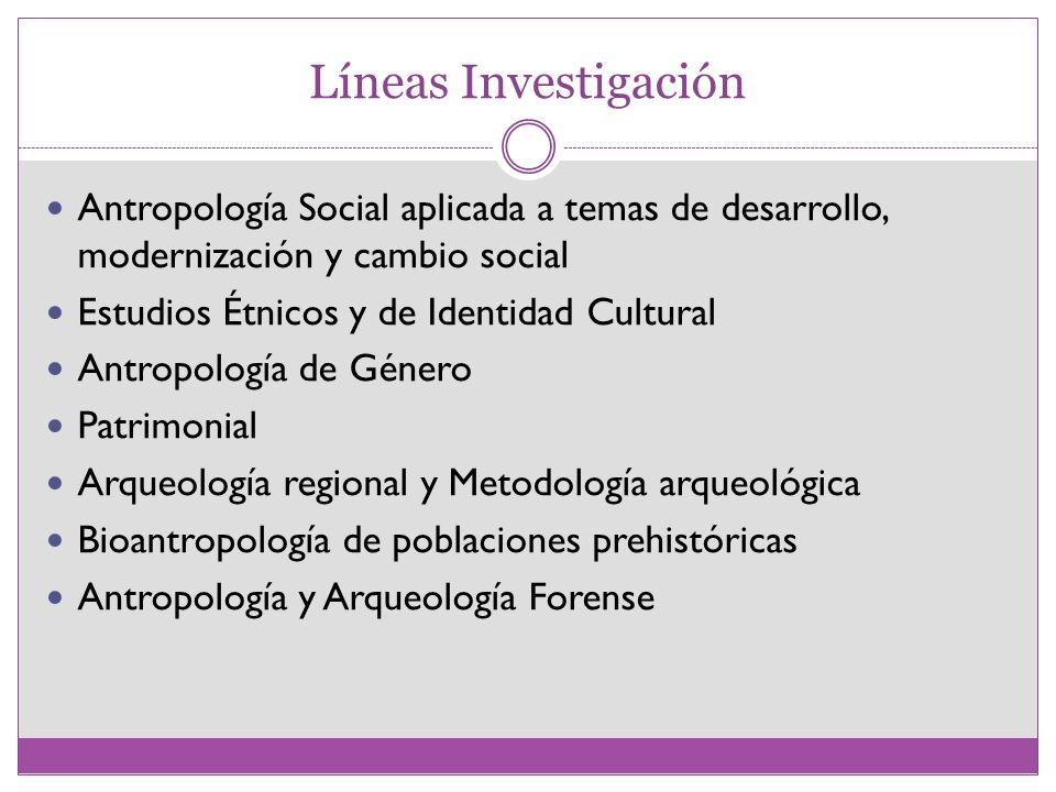 Líneas InvestigaciónAntropología Social aplicada a temas de desarrollo, modernización y cambio social.