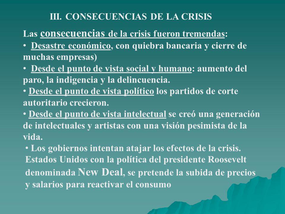 III. CONSECUENCIAS DE LA CRISIS
