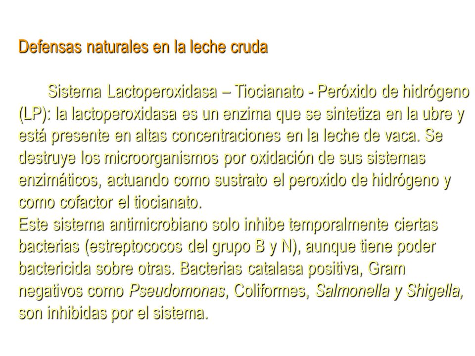 Defensas naturales en la leche cruda