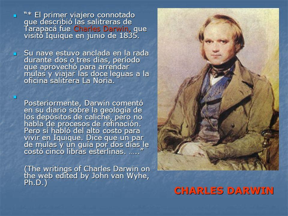 * El primer viajero connotado que describió las salitreras de Tarapacá fue Charles Darwin, que visitó Iquique en junio de 1835.