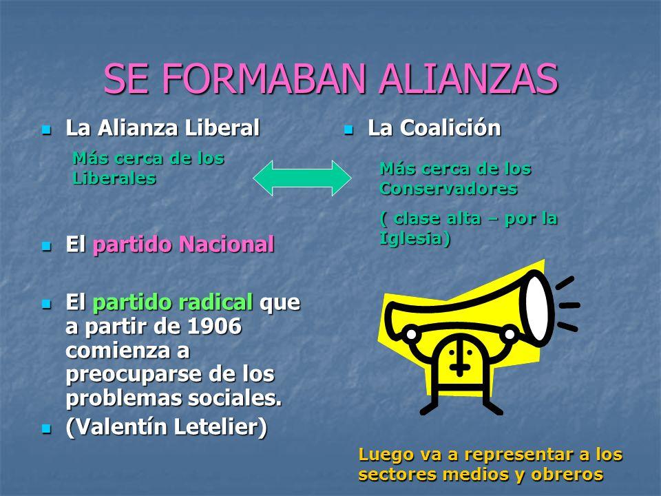 SE FORMABAN ALIANZAS La Alianza Liberal El partido Nacional