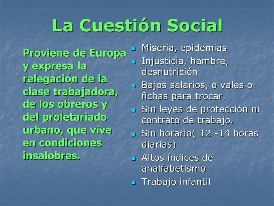 La Cuestión Social Miseria, epidemias. Injusticia, hambre, desnutrición. Bajos salarios, o vales o fichas para trocar.