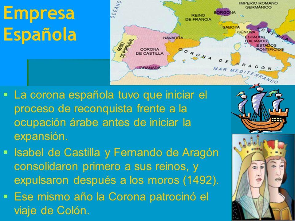 Empresa Española La corona española tuvo que iniciar el proceso de reconquista frente a la ocupación árabe antes de iniciar la expansión.