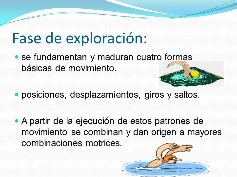 Fase de exploración: se fundamentan y maduran cuatro formas básicas de movimiento. posiciones, desplazamientos, giros y saltos.