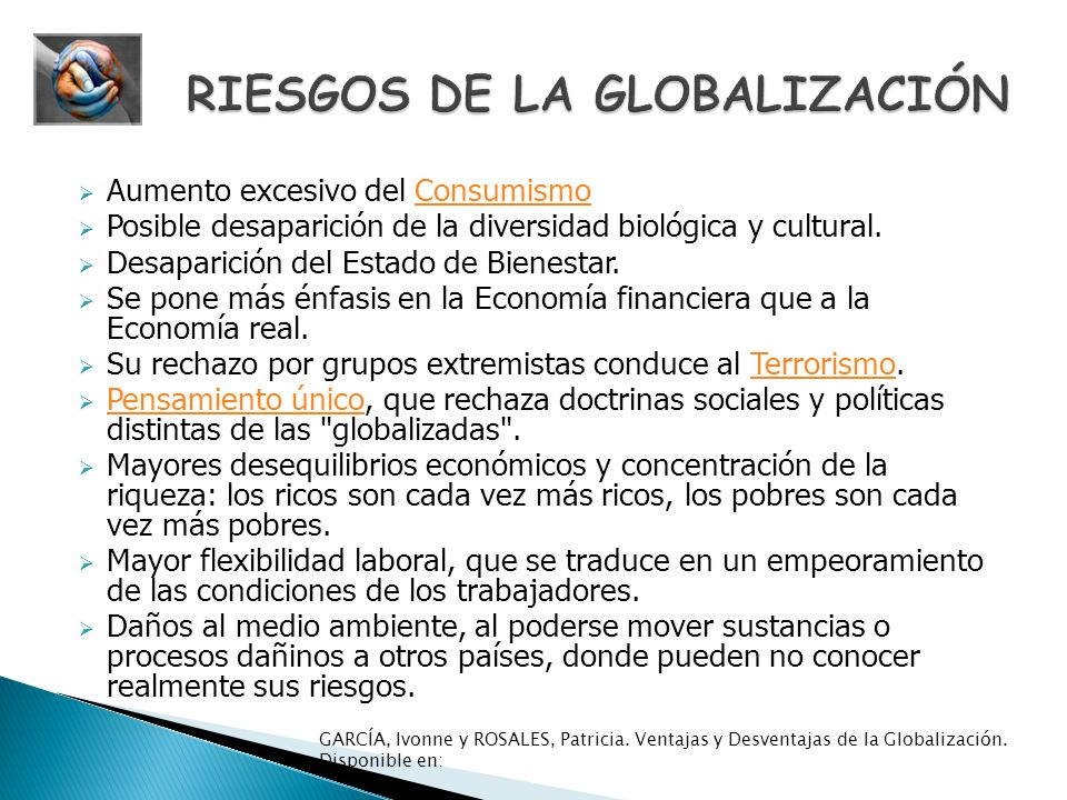 RIESGOS DE LA GLOBALIZACIÓN