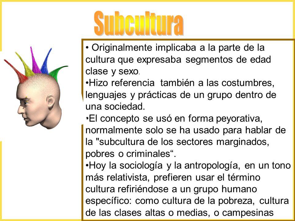 Subcultura Originalmente implicaba a la parte de la cultura que expresaba segmentos de edad clase y sexo.