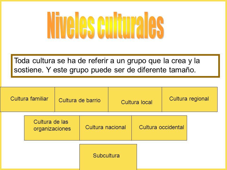 Niveles culturales Toda cultura se ha de referir a un grupo que la crea y la sostiene. Y este grupo puede ser de diferente tamaño.