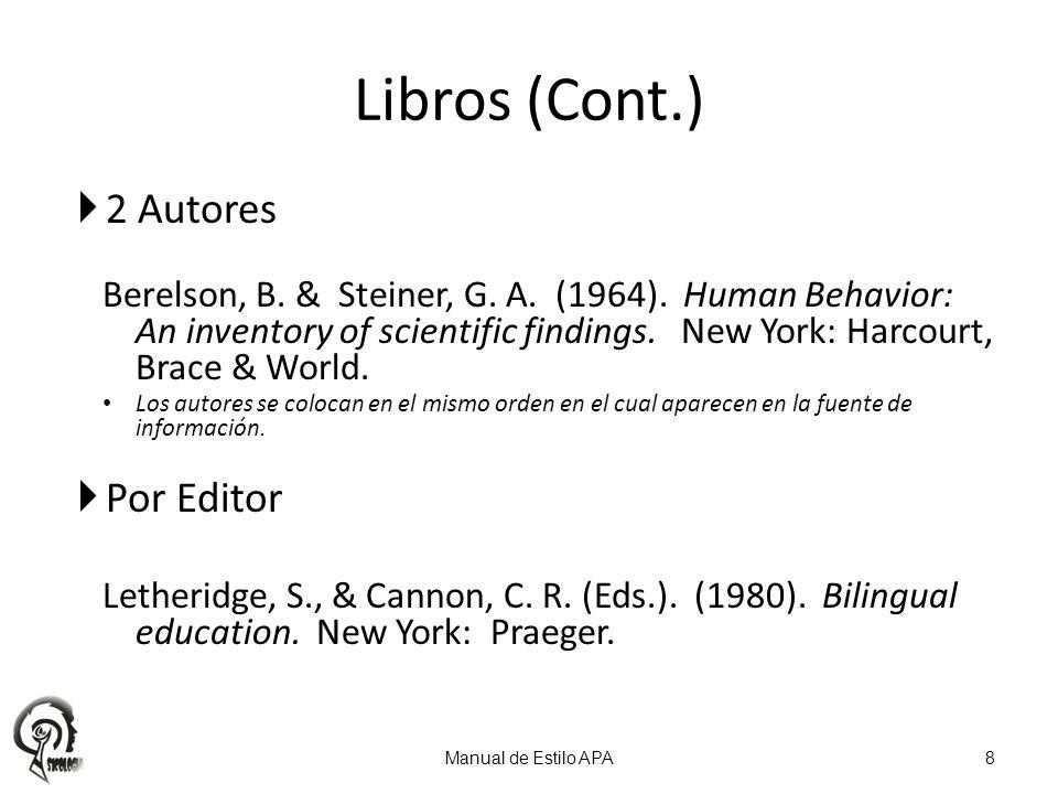 Libros (Cont.) 2 Autores Por Editor