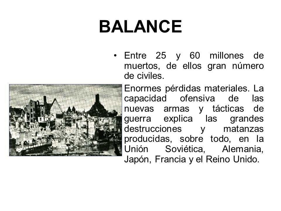 BALANCE Entre 25 y 60 millones de muertos, de ellos gran número de civiles.