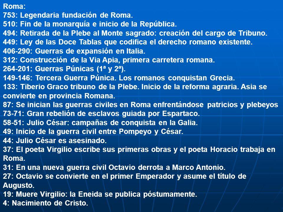 Roma: 753: Legendaria fundación de Roma. 510: Fin de la monarquía e inicio de la República.