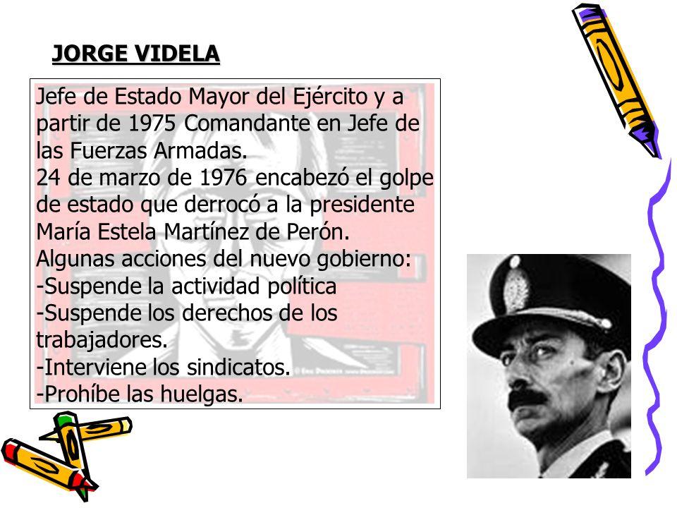 JORGE VIDELA Jefe de Estado Mayor del Ejército y a. partir de 1975 Comandante en Jefe de. las Fuerzas Armadas.