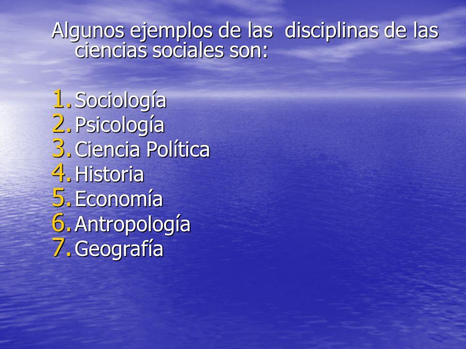 Algunos ejemplos de las disciplinas de las ciencias sociales son: