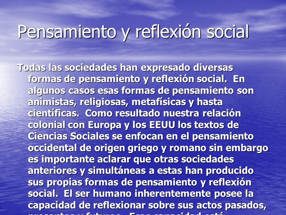 Pensamiento y reflexión social