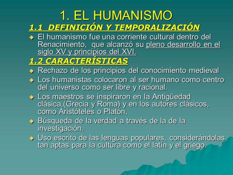 1. EL HUMANISMO 1.1 DEFINICIÓN Y TEMPORALIZACIÓN