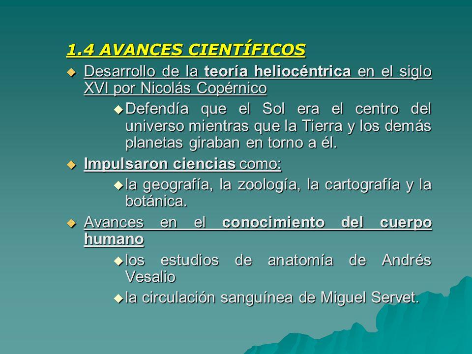 1.4 AVANCES CIENTÍFICOS Desarrollo de la teoría heliocéntrica en el siglo XVI por Nicolás Copérnico.