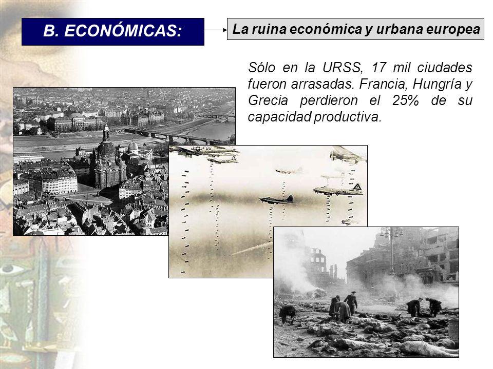 B. ECONÓMICAS: La ruina económica y urbana europea