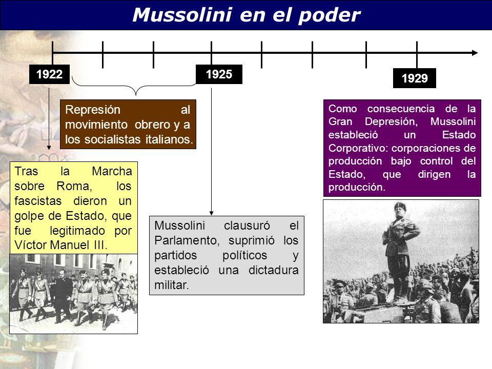 Mussolini en el poder 1922. 1925. 1929. Represión al movimiento obrero y a los socialistas italianos.