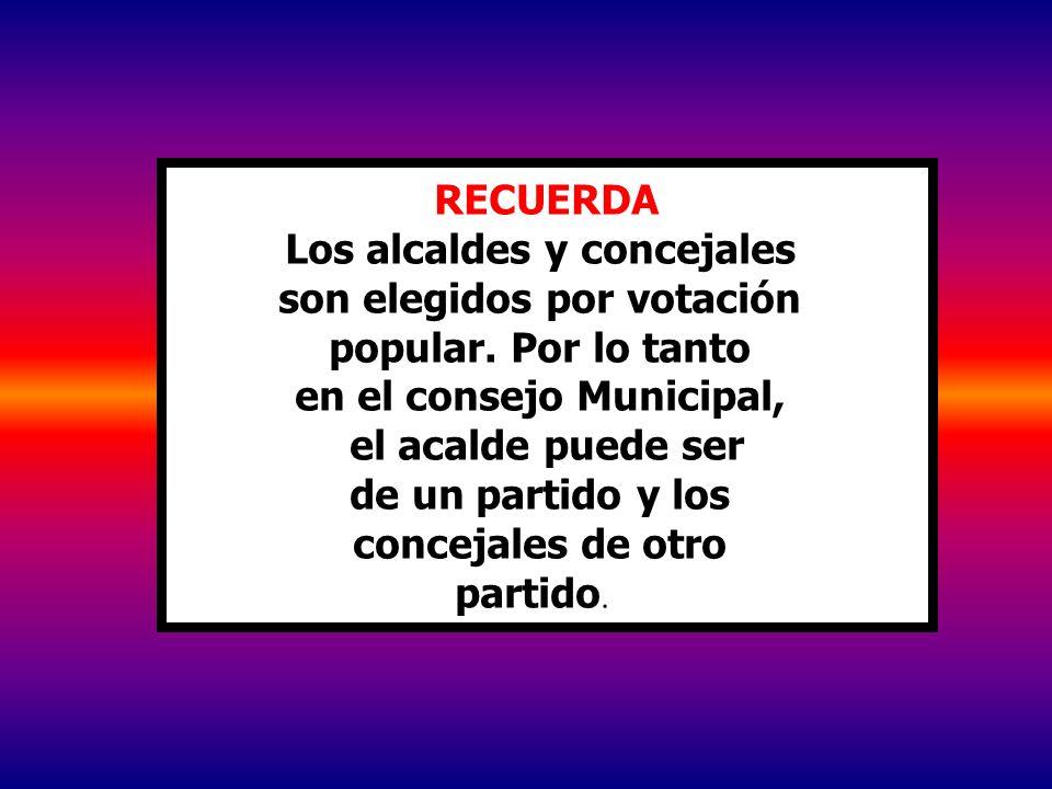 Los alcaldes y concejales son elegidos por votación