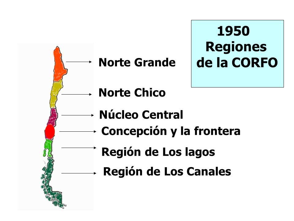 1950 Regiones de la CORFO Norte Grande Norte Chico Núcleo Central