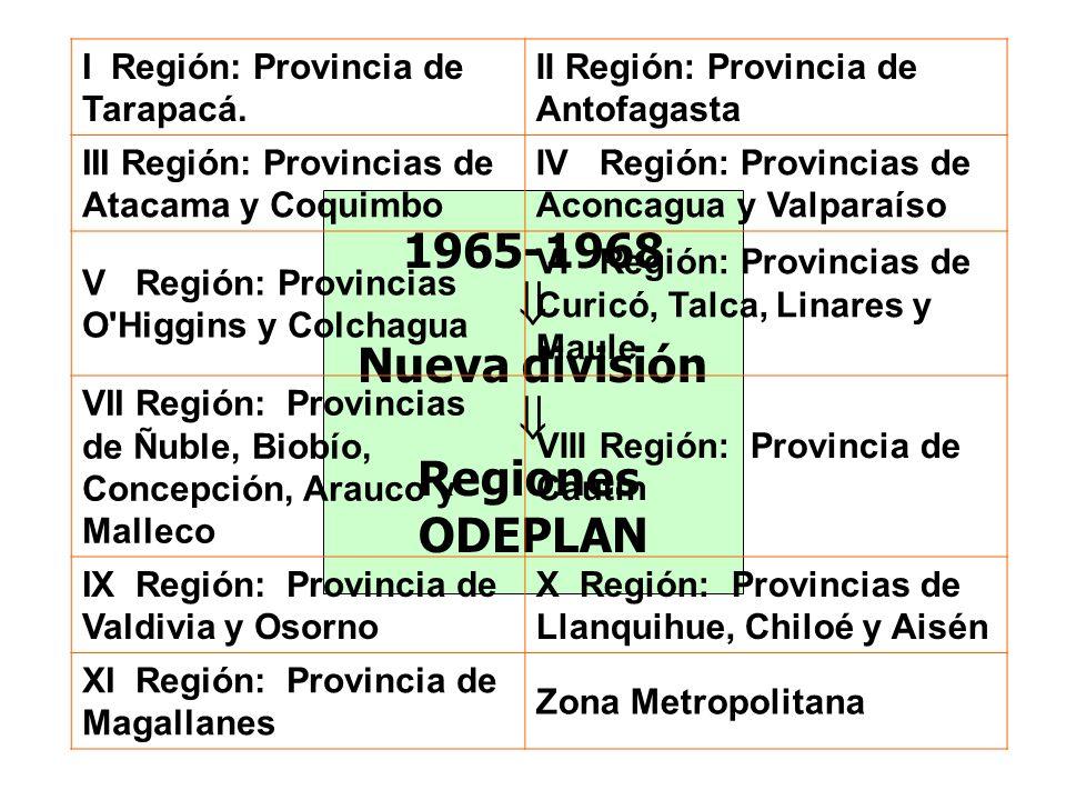 1965-1968  Nueva división Regiones ODEPLAN