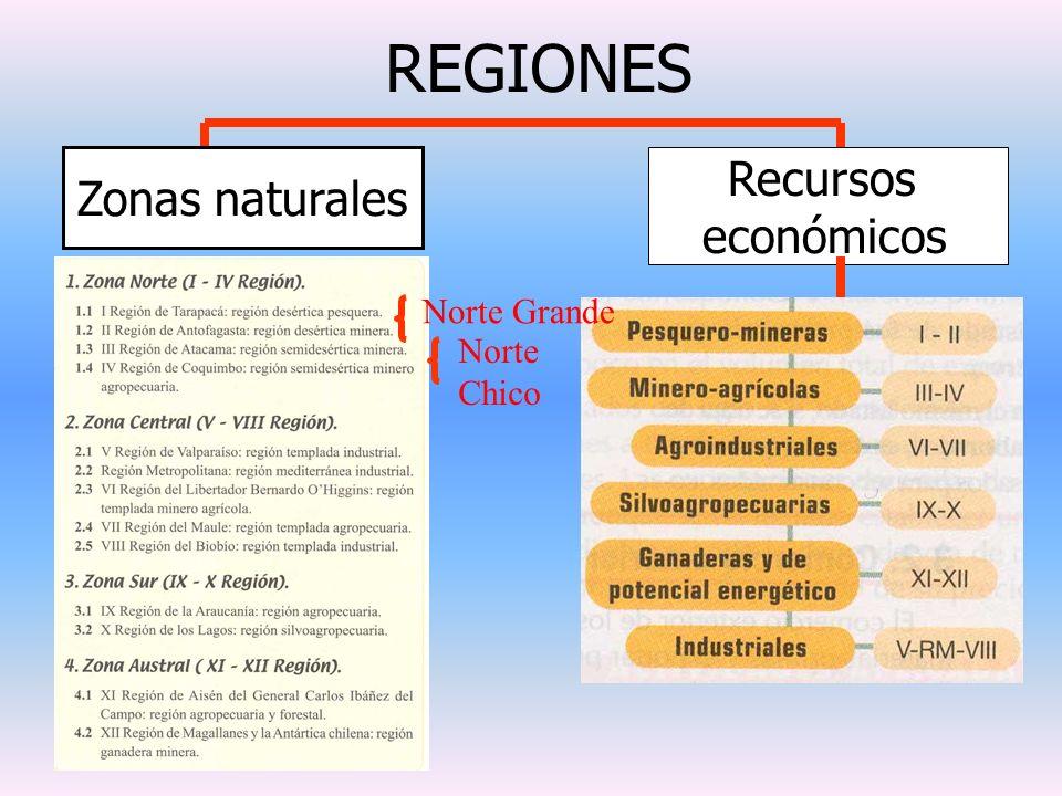 REGIONES Zonas naturales Recursos económicos Norte Grande Norte Chico