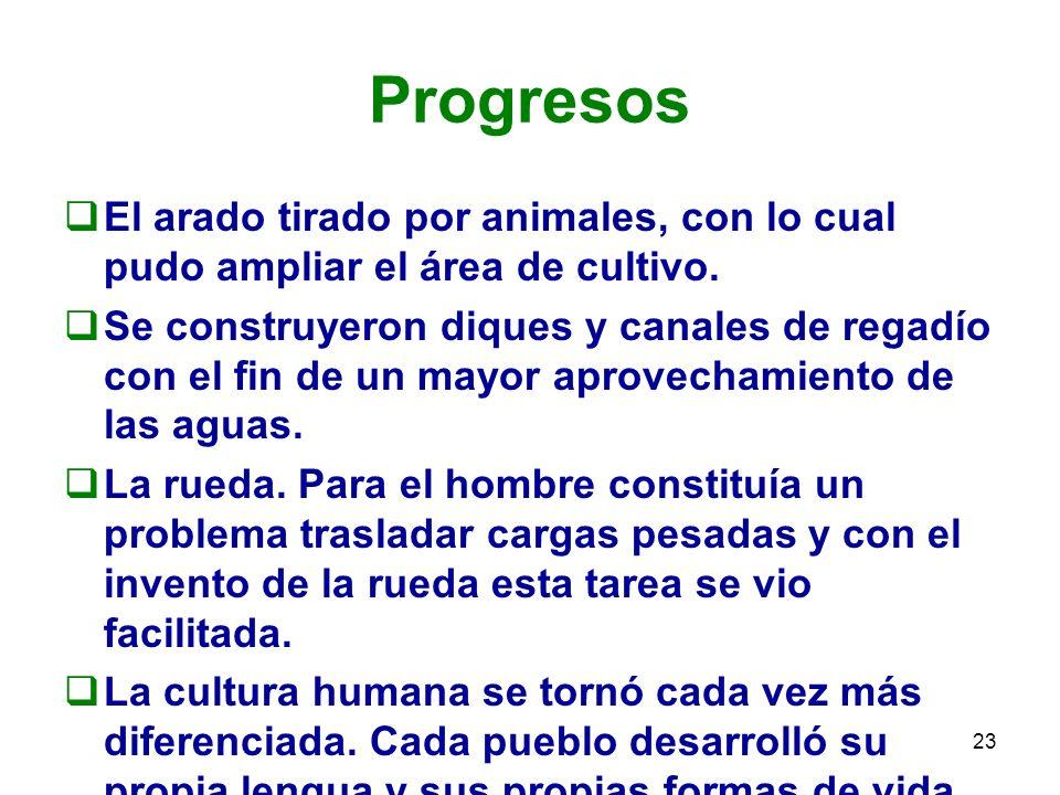 ProgresosEl arado tirado por animales, con lo cual pudo ampliar el área de cultivo.
