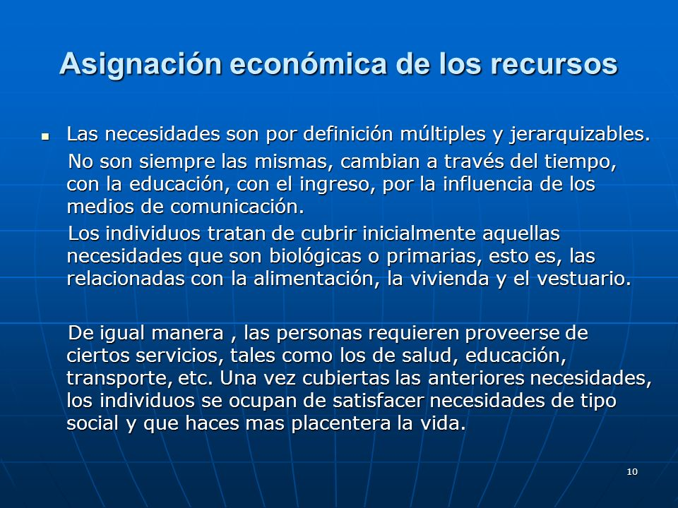 Asignación económica de los recursos