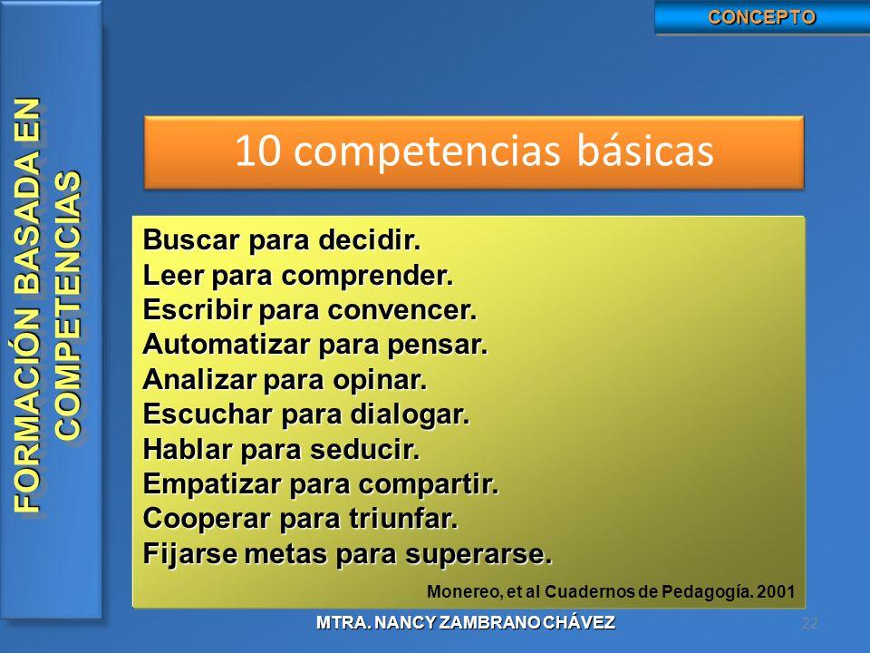 10 competencias básicas Buscar para decidir. Leer para comprender.