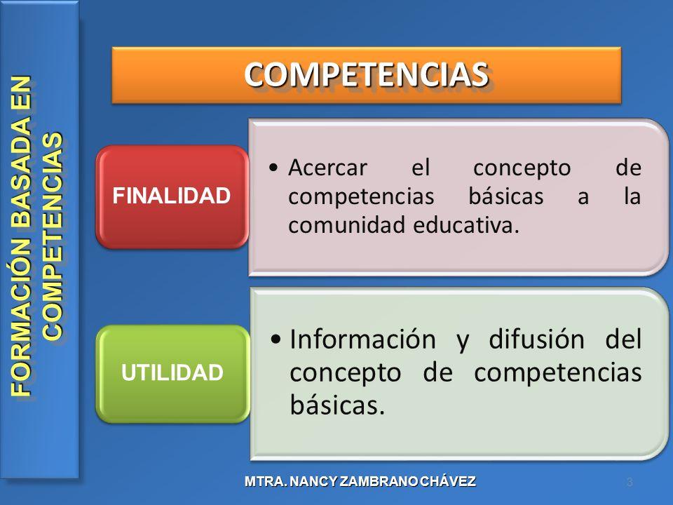 COMPETENCIAS FINALIDAD. Acercar el concepto de competencias básicas a la comunidad educativa. UTILIDAD.