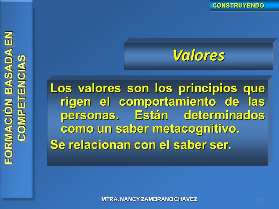 CONSTRUYENDO Valores. Los valores son los principios que rigen el comportamiento de las personas. Están determinados como un saber metacognitivo.