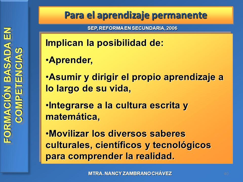 Para el aprendizaje permanente