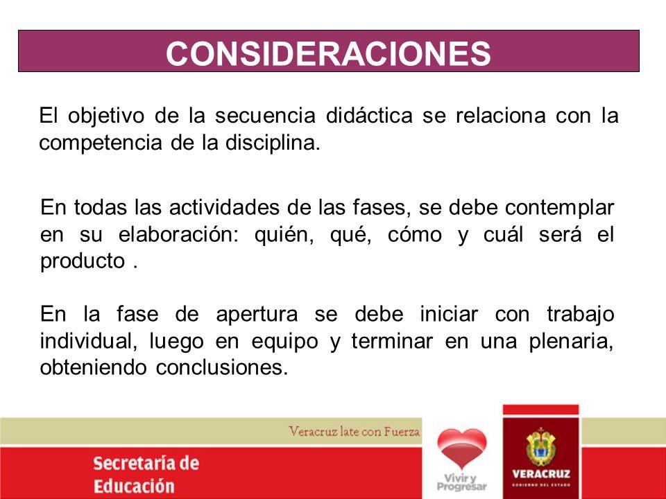 CONSIDERACIONESEl objetivo de la secuencia didáctica se relaciona con la competencia de la disciplina.