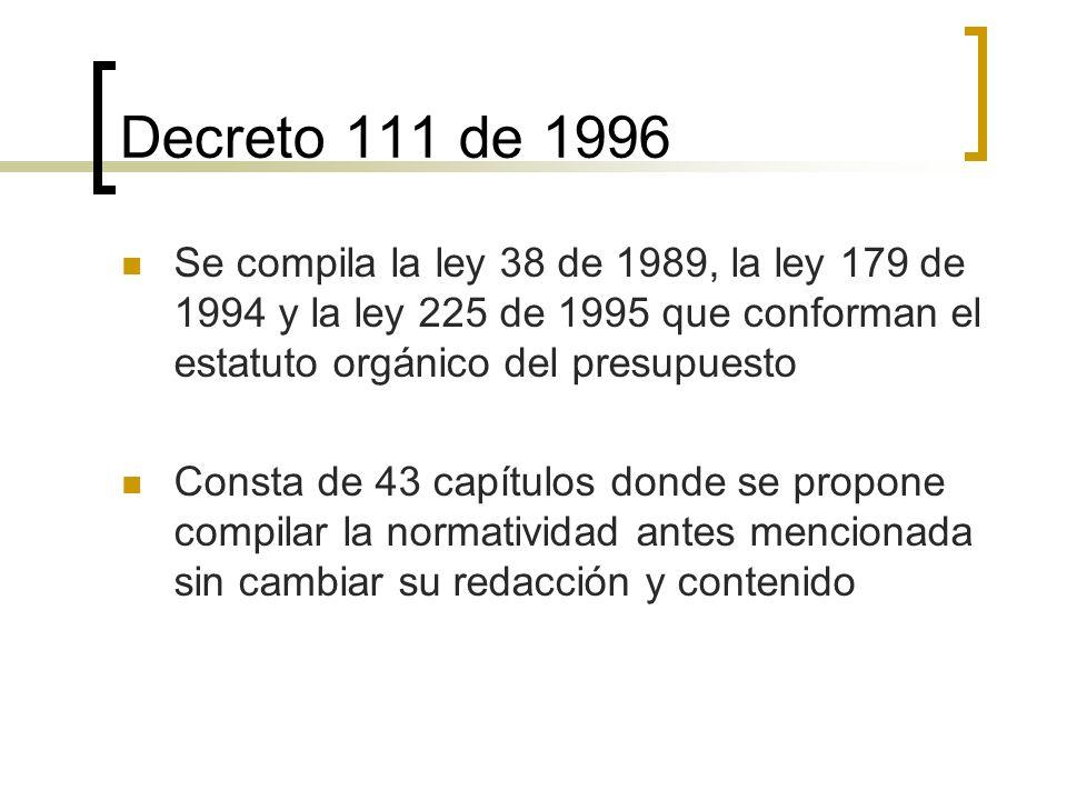 Decreto 111 de 1996 Se compila la ley 38 de 1989, la ley 179 de 1994 y la ley 225 de 1995 que conforman el estatuto orgánico del presupuesto.