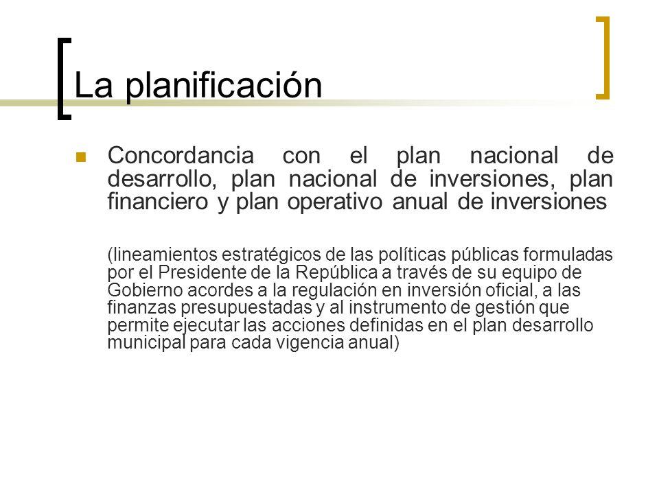 La planificación Concordancia con el plan nacional de desarrollo, plan nacional de inversiones, plan financiero y plan operativo anual de inversiones.